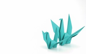 origami birds - Large_teal